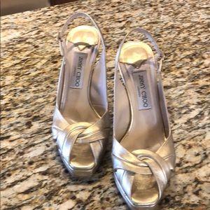 Jimmy Choo Gold metallic heels